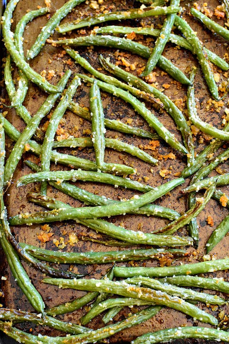 Parmesan Roasted Green Beans on baking sheet