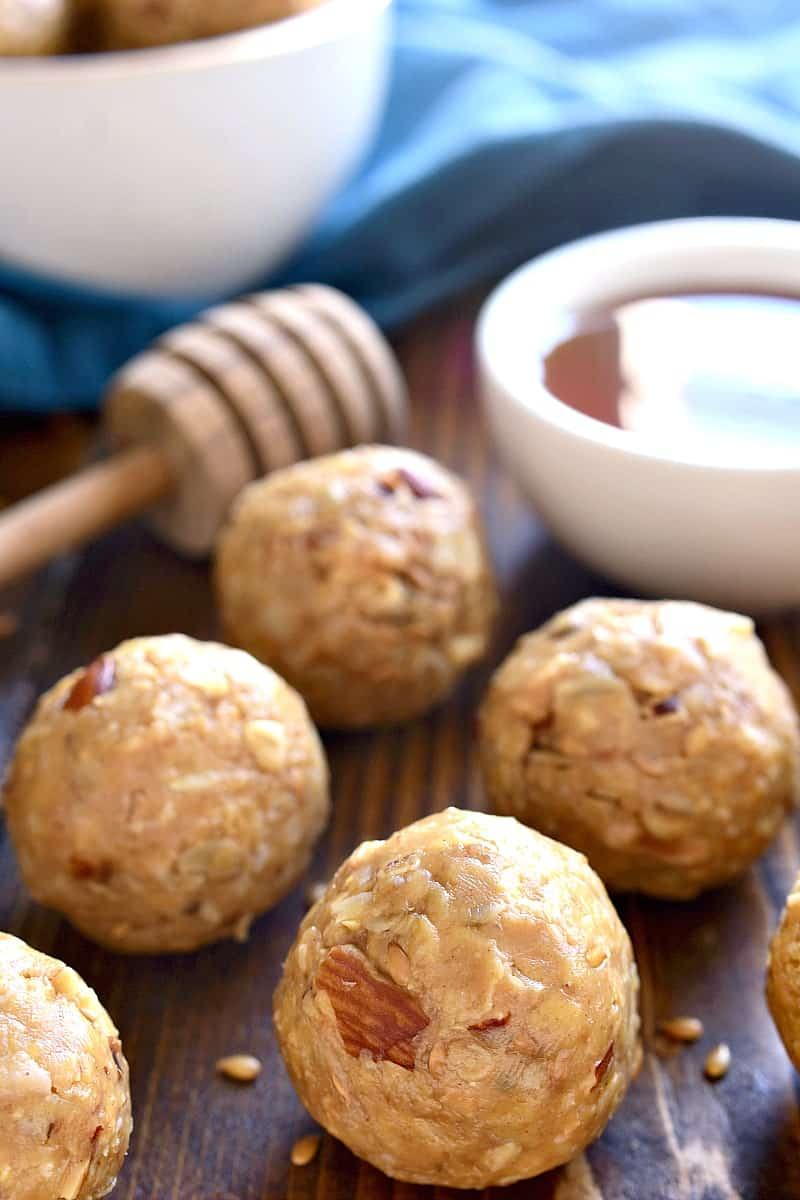 These Honey Almond Energy Bites are packed with the BEST flavors and perfect for snacking! They're a little bit salty, a little bit sweet, and guaranteed to give you the energy boost you need!