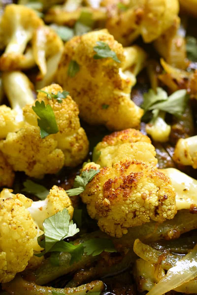 close up image of cauliflower with curry