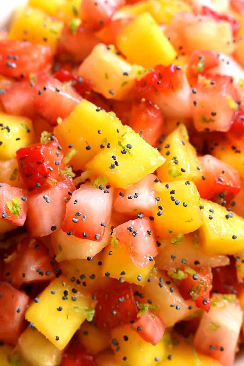 close up image of mango, watermelon, and strawberry salsa