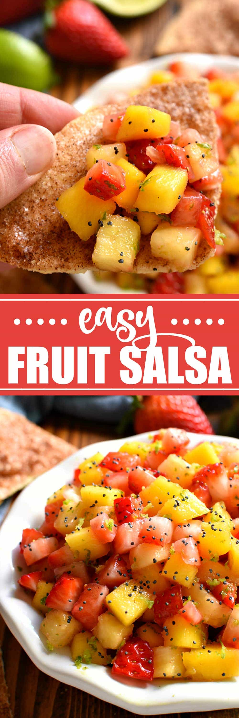 titled photo collage - Easy Fruit Salsa