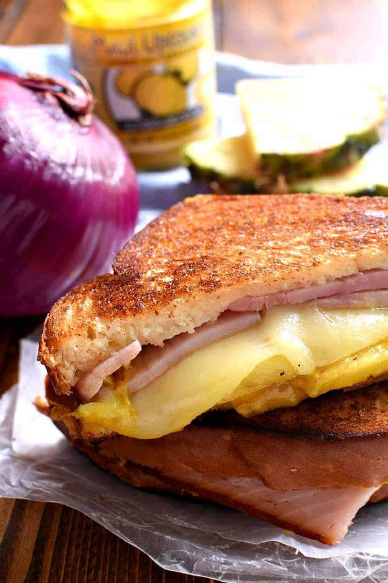 Grilled Hawaiian Ham & Cheese Sandwich with pineapple slices