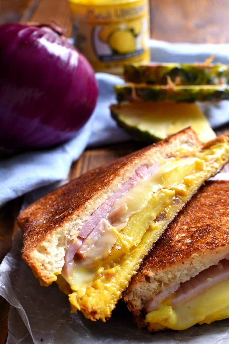 close up image of a Hawaiian Ham Grilled Cheese Sandwich