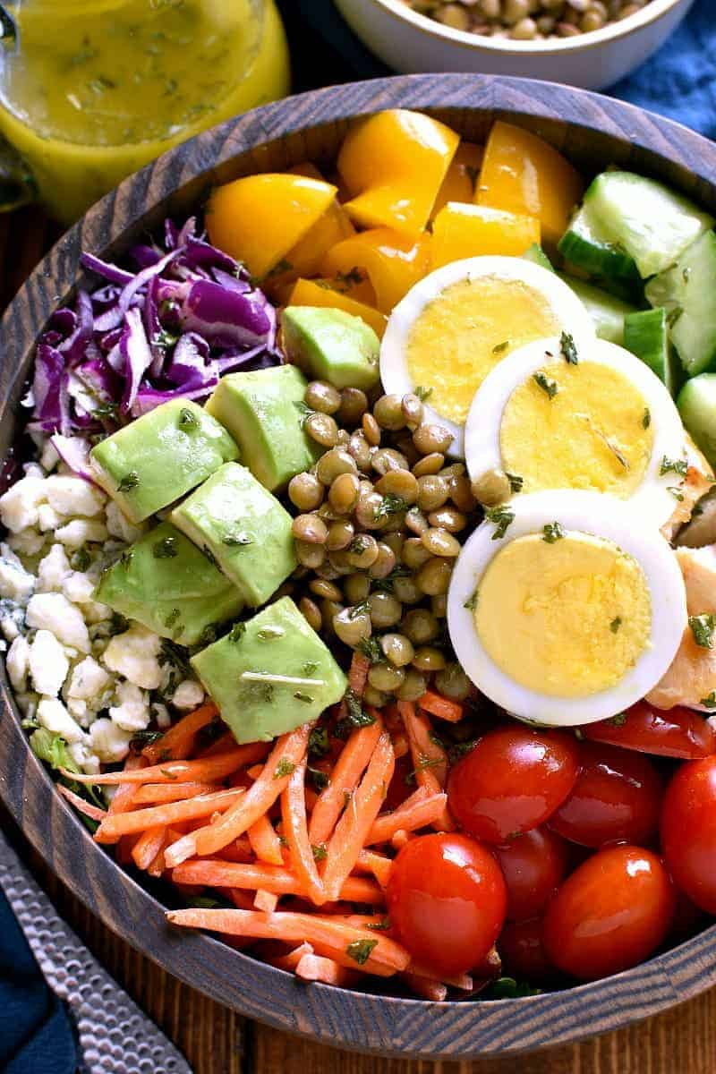 salad bowl filled with Protein Power Salad