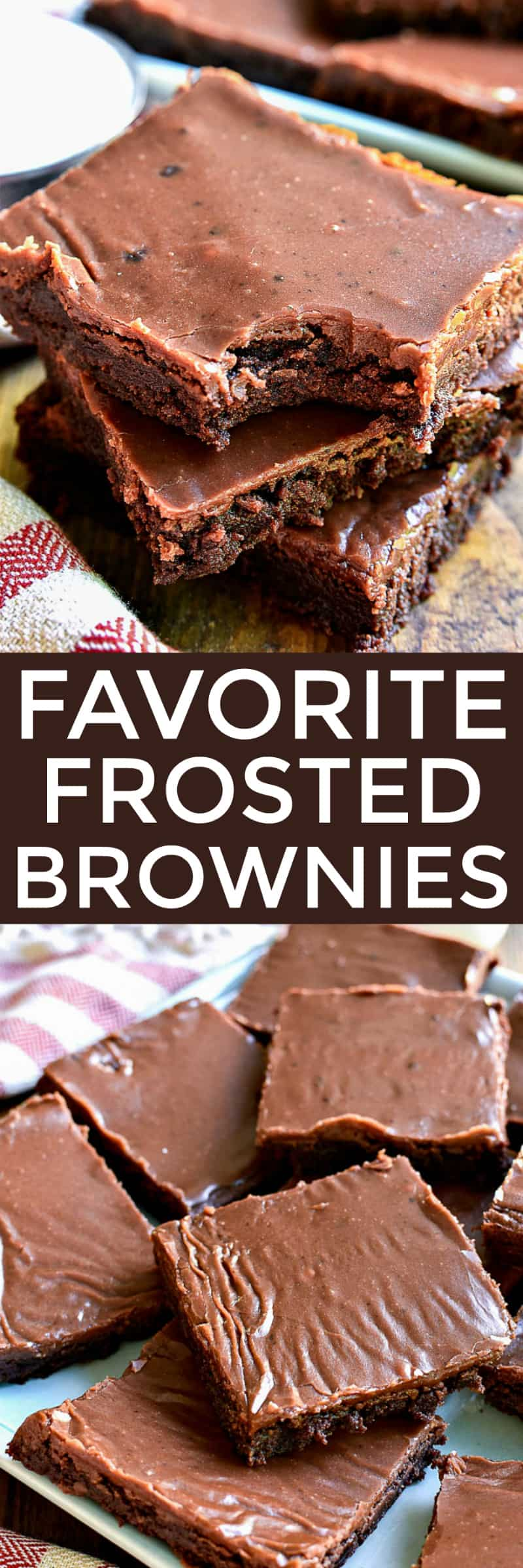 Collage image of frosted brownies