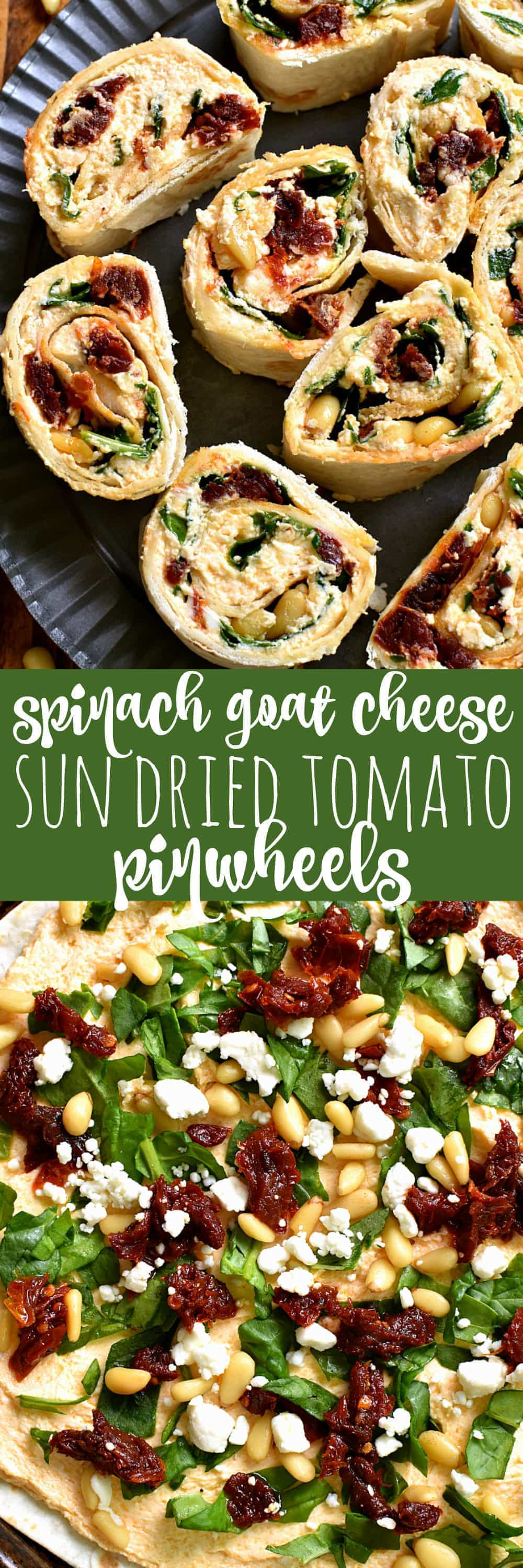 These Spinach Goat Cheese Sun Dried Tomato Pinwheels are the perfect appetizer! Packed with delicious flavor and SO easy to make, they're ideal for cocktail parties, picnics, ladies nights, or even dinner!