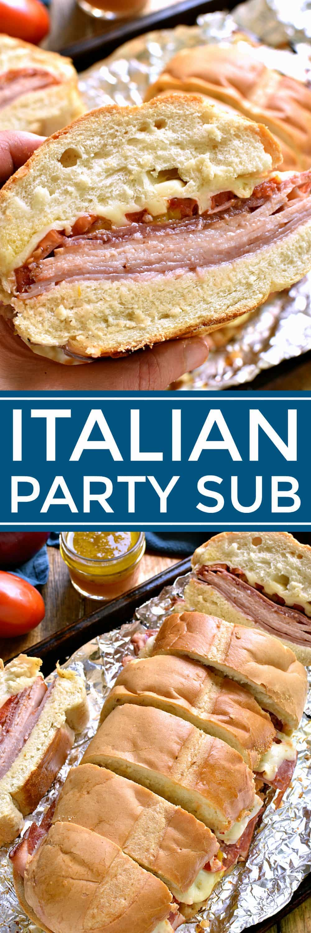 This Baked Italian Party Sub is perfect for feeding a crowd! Loaded with the delicious flavors of salami, turkey, ham, provolone, tomatoes, peppers, red onions, and homemade Italian vinaigrette, this sandwich is party-ready whenever you are....and guaranteed to make all your guests very happy!
