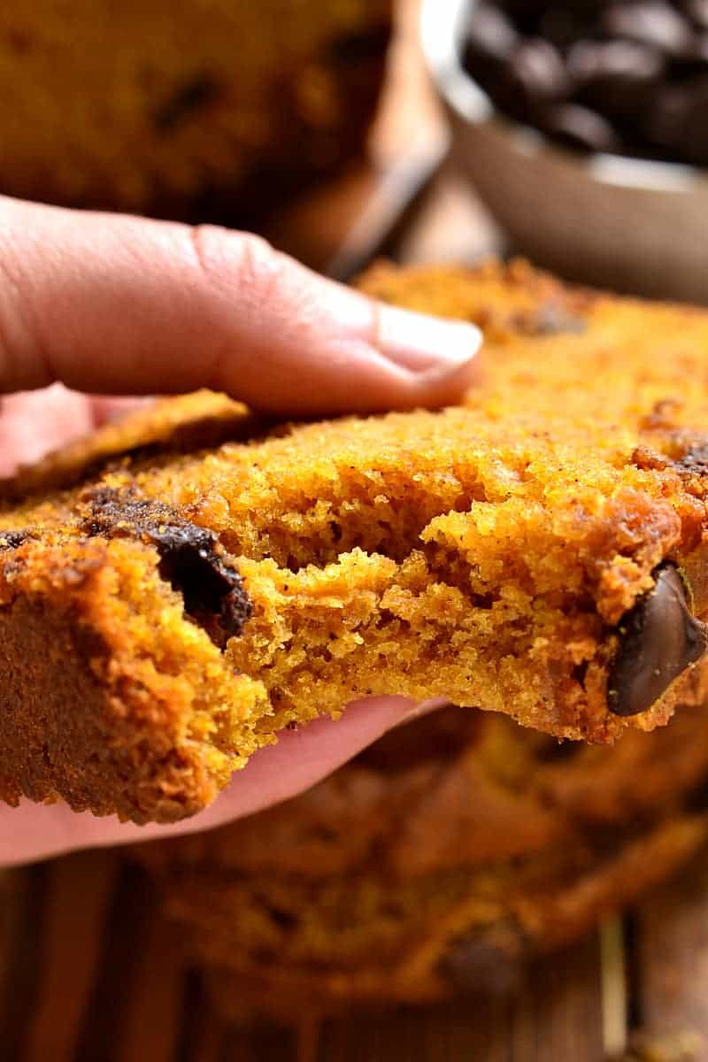 The BEST pumpkin bread, loaded with chocolate chips and packed with delicious flavor! Perfect for busy mornings, relaxing brunches, afternoon snacks, or even dessert! Once you try this Pumpkin Chocolate Chip Bread, there's NO going back!