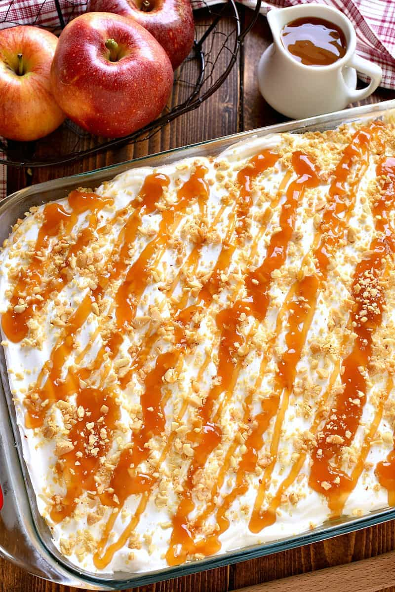 This Caramel Apple Lush Dessert is EVERYTHING! Layer upon layer of rich, creamy caramel apple goodness...this dessert is guaranteed to be a hit everywhere it goes!