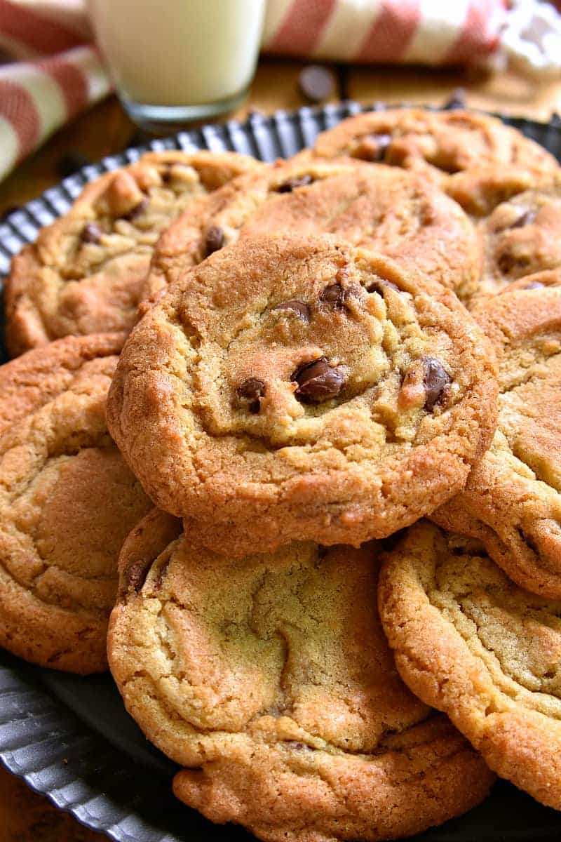 These Chocolate Chip Cookies are seriously the best!! Thick, chewy, and perfectly golden brown, once you try them, your search for the perfect chocolate chip cookie will be over. Guaranteed!
