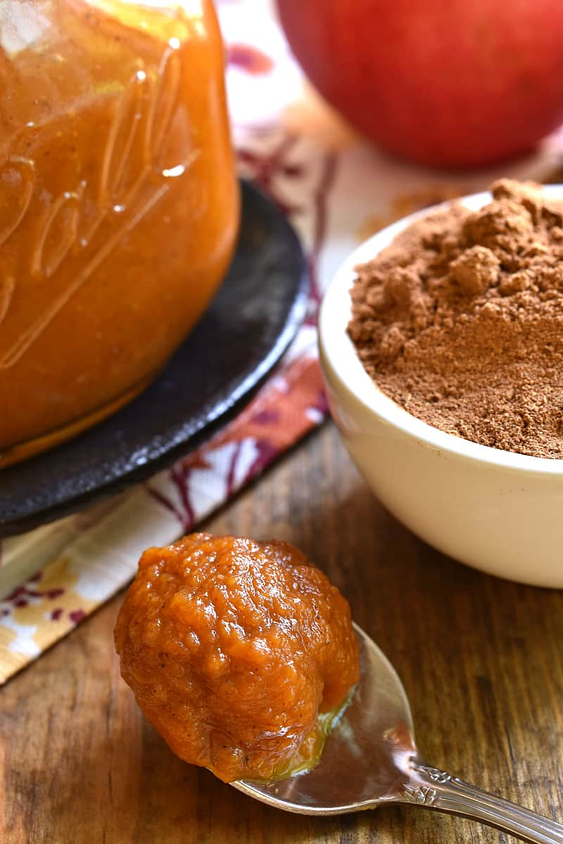 Homemade Pumpkin Butter is the most delicious taste of fall! Made with just 8 ingredients and ready in 15 minutes, this recipe is rich, creamy, flavorful, and perfect for spreading on your favorite breakfast breads or using in your favorite recipes!