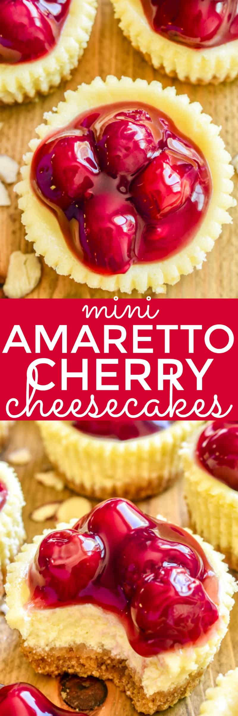 If you love cheesecake, you'll adore these Mini Amaretto Cherry Cheesecakes! The perfect easy dessert for holidays, parties, baby showers, or any special occasion.