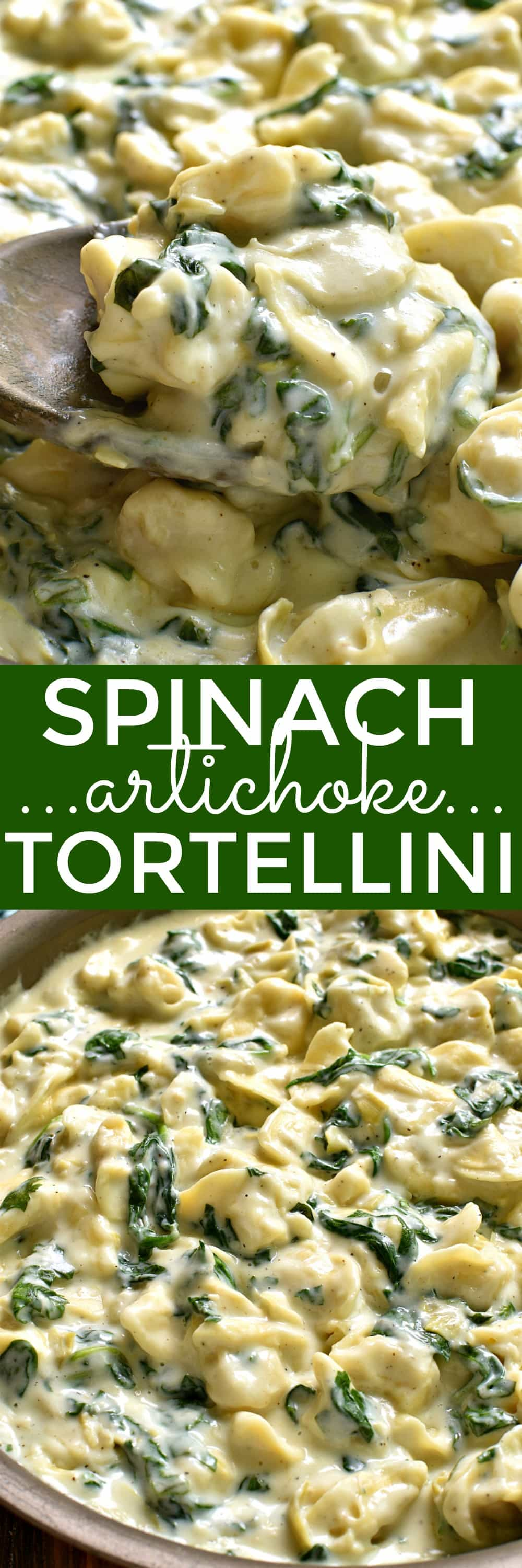 This Spinach Artichoke Tortellini is a pasta lover's dream! Rich, creamy, and loaded with cheesy goodness...this is one family dinner everyone will LOVE. And ready in just 20 minutes or less!