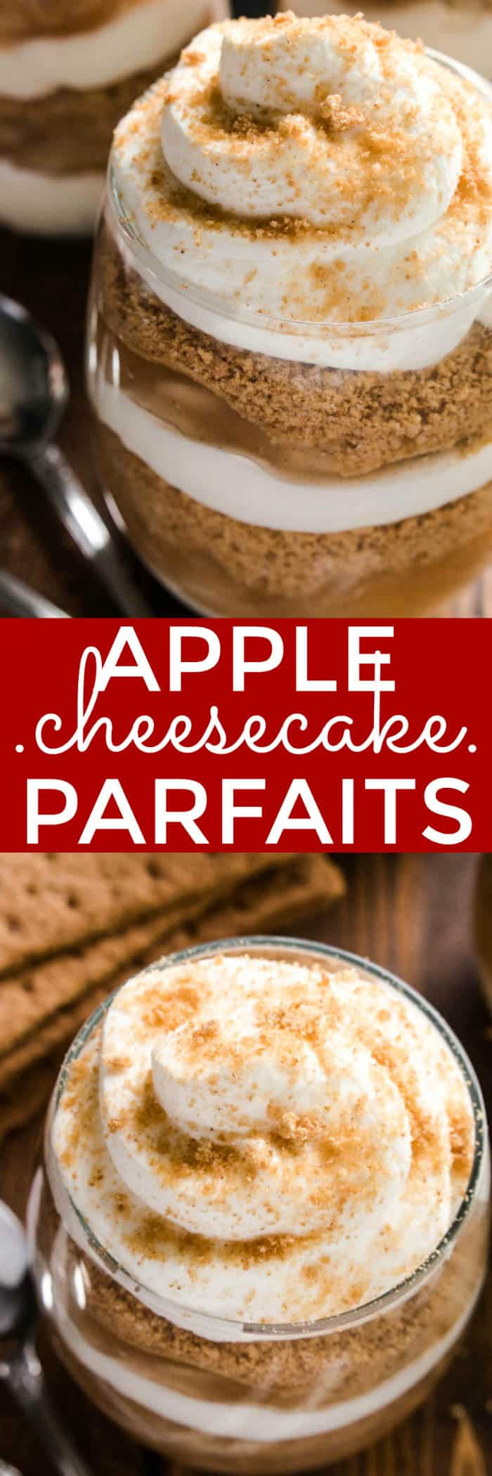 These Apple Cheesecake Parfaits combine two holiday favorites in one delicious no-bake dessert! Made with just five simple ingredients, these parfaits have all the flavors of apple pie, combined with rich, creamy cheesecake and homemade whipped cream. Best of all, they come together in no time at all. Just 10 minutes is all you need for a rich, decadent dessert that's worthy of any holiday celebration. Why choose between cheesecake and pie when you can have both? These Apple Cheesecake Parfaits are the perfect pairing...and guaranteed to be a holiday hit!