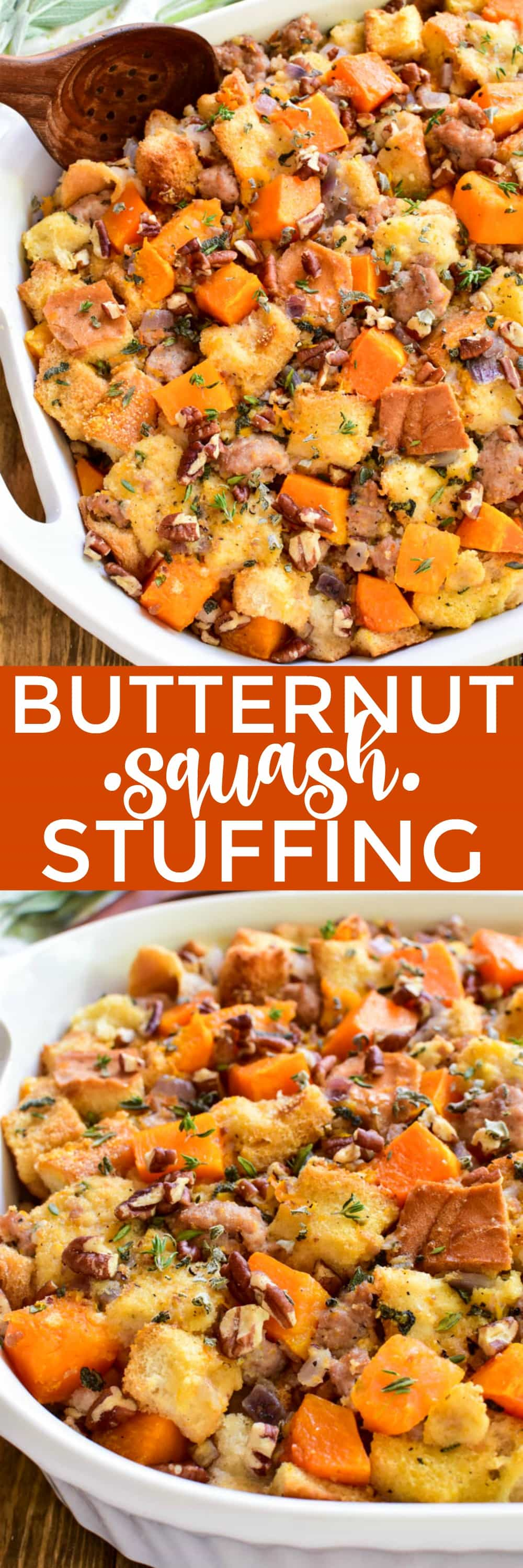Switch up your holiday menu with this delicious Butternut Squash Stuffing! Loaded with toasted bread, Italian sausage, chopped pecans, fresh sage, and roasted butternut squash....this stuffing is flavor-packed and perfect for your holiday celebrations! Whether you're stuck in a Thanksgiving dinner rut or just looking to try something new, you'll LOVE this yummy twist on a classic. We love all things butternut squash at this time of year, from this delicious Roasted Butternut Squash Saladto Butternut Squash Risottoand everything in between. It's versatile, easy to prepare, and has the most delicious flavor. If you love butternut squash, this Butternut Squash Stuffing is for you!
