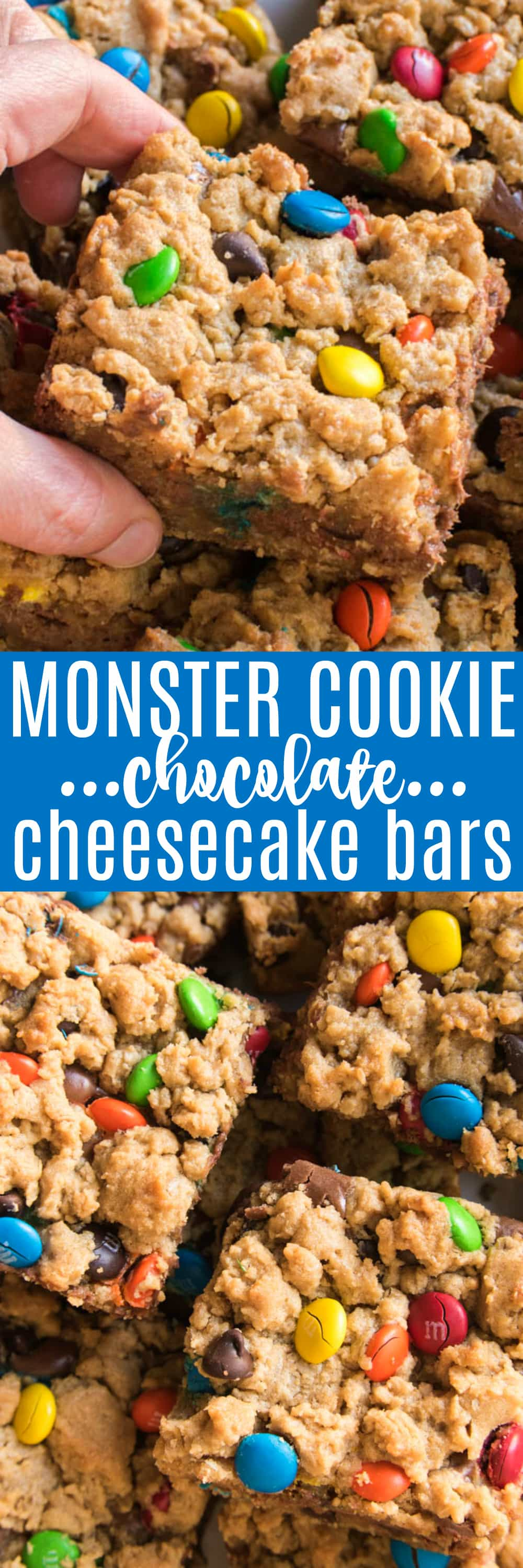 These Monster Cookie Chocolate Cheesecake Bars are the best of both worlds! If you love chocolate, and cookies, and cheesecake, these bars are for YOU! Creamy chocolate cheesecake sandwiched between two delicious layers of yummy monster cookies....these bars are loaded with peanut butter, oatmeal, chocolate chips, m&m's, and so much more. They're easy to make and perfect for feeding a crowd, making them a delicious choice for holidays, birthdays, and parties. Best of all, everyone LOVES them!!
