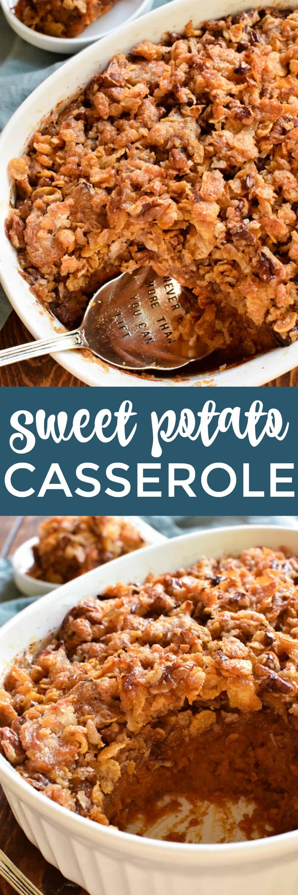 The ULTIMATE Sweet Potato Casserole! Loaded with fresh sweet potatoes, brown sugar, pumpkin pie spice, chopped pecans, and  a special secret ingredient, this casserole is crunchy, creamy, sweet, and so delicious. Perfect for all your holiday celebrations and easy to make in advance, so it's celebration-ready when you are. Whether you're a long time sweet potato lover or new to the game, you're going to fall in love with this recipe. It has the most amazing flavor and the BEST brown sugar pecan topping. Sure to become a new holiday favorite!