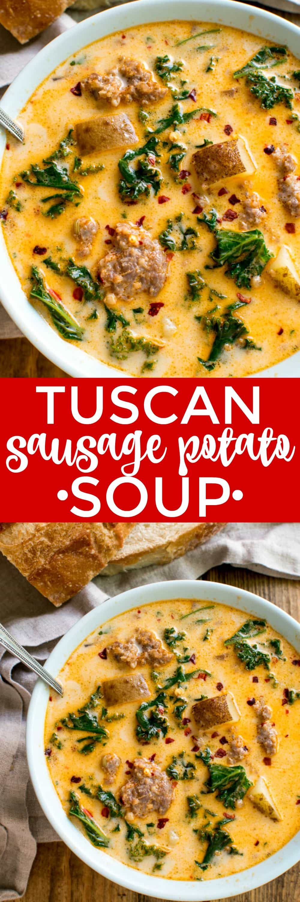 This Tuscan Sausage Potato Soup is perfect for warming up to on a cold day! It's made with just a handful of ingredients and packed with the most delicious flavor! Best of all, it comes together easily in ONE POT...making it ideal for busy weeknights and equally amazing for a lazy Sunday dinner. If you love Italian flavors and like things a little spicy, this Tuscan Sausage Potato Soup is for YOU!