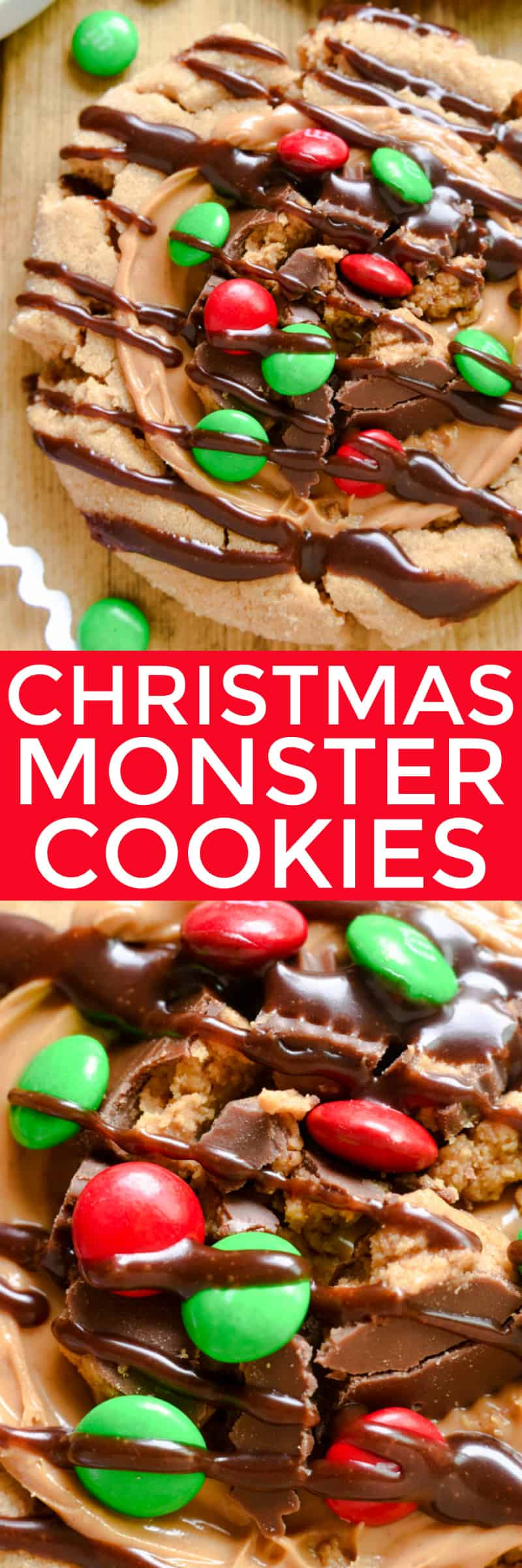 If you LOVE peanut butter, these Christmas Monster Cookies are for you! They start with the best peanut butter cookies, topped with creamy peanut butter, peanut butter cups, red & green M&M's, and a delicious drizzle of chocolate ganache. Seriously loaded and seriously amazing! These cookies make the perfect gift for neighbors, teachers, or friends. They can easily be packaged separately, and everyone will go crazy for the giant explosion of flavor in every single bite. You can't go wrong with the delicious peanut butter + chocolate combo!