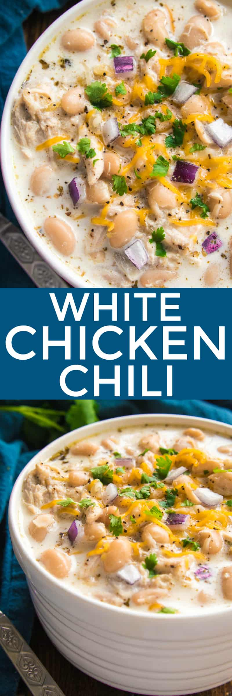 The BEST White Chicken Chili! If you love chili, you'll love this creamy, delicious twist! This recipe comes together quickly and is always a favorite - perfect for game days, weeknight dinners, and family gatherings. Make it with rotisserie chicken for an extra easy dinner, and top it with all your favorites for a delicious dish everyone will love! Whether you're a traditional chili fan or prefer white bean chili, you'll love the amazing flavor in this Creamy White Chicken Chili recipe....sure to become a new favorite!