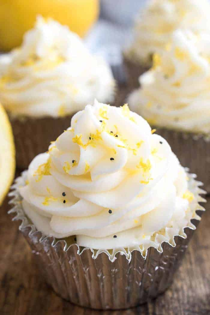 If you love all things LEMON, you'll go crazy for these Lemon Poppy Seed Cupcakes! Sweet, dense lemon poppy seed cupcakes topped with homemade lemon buttercream frosting...these cupcakes are completely bursting with citrus flavor. And since winter is citrus season, it's the perfect time to make them! They're the ideal treat for birthday parties, baby showers, or any special occasion, and once you taste their sweet lemony goodness, I guarantee you'll be making them all year round!