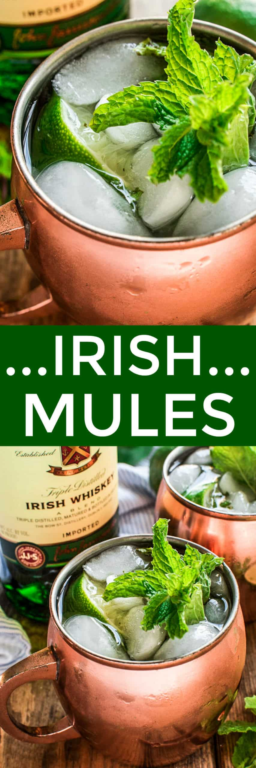 Collage image of Irish Mules in copper mugs