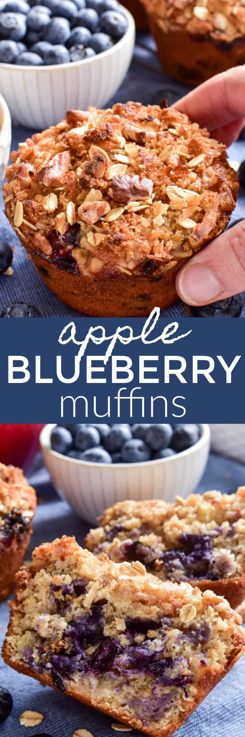 Apple Blueberry Muffins are a delicious grab and go option that's perfect for breakfast or an afternoon snack. These muffins combine two favorites in one yummy breakfast treat that's loaded with superfoods and topped with a sweet, crunchy topping. If you love blueberry muffins, you'll love this healthier option....perfect for the whole family!