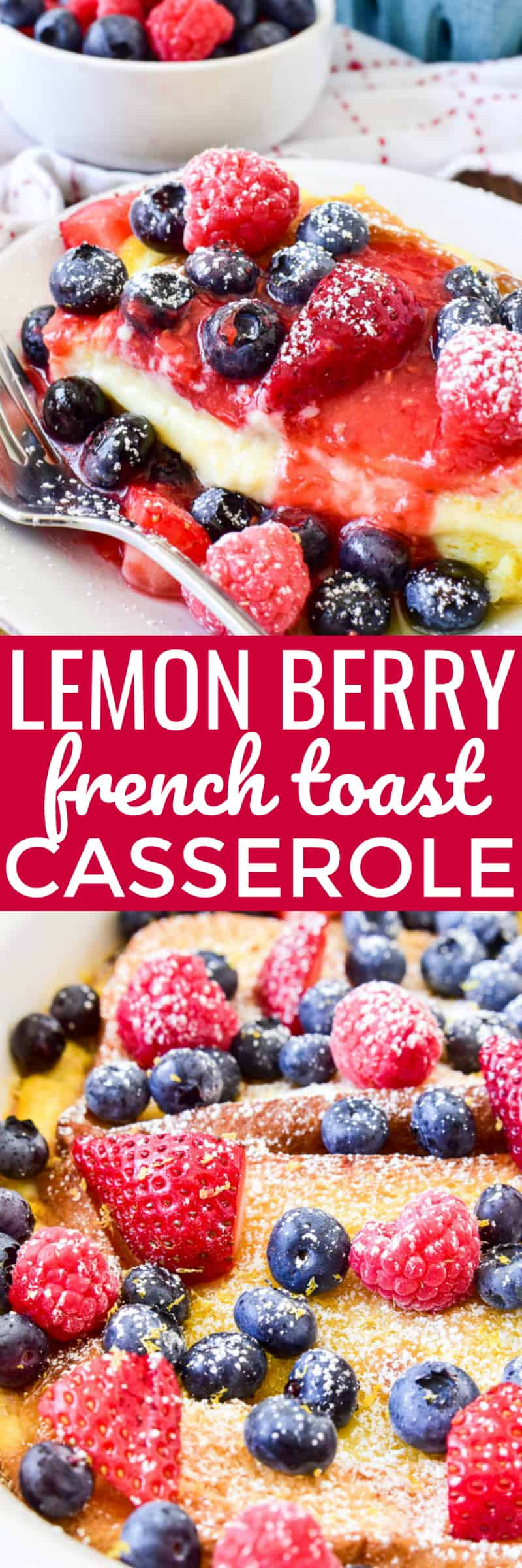This stuffed French toast has a sweet lemony syrup and a creamy cheesecake filling and is topped with fresh berries and a simple berry sauce. Sprinkle it with powdered sugar and fresh lemon zest for an easy yet elegant brunch recipe that's sure to become a favorite!