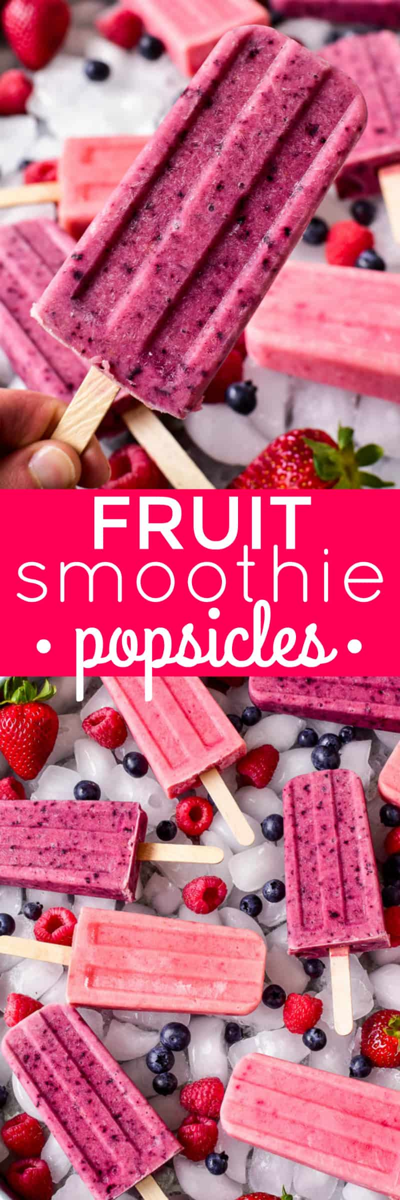 Fruit Smoothie Popsicles are one of our favorite summer treats! They combine all the flavors of a fruit smoothie with all the fun a popsicle. Made with just three simple ingredients, these fruit smoothie popsicles come together in minutes and make a delicious breakfast, snack, or after dinner treat. They can be made with any combination of fruit, which means theres a flavor combination for everyone! Whether you're a smoothie lover or looking to eat healthier this summer, these Fruit Smoothie Popsicles are destined to become a new summer (or year round) favorite!