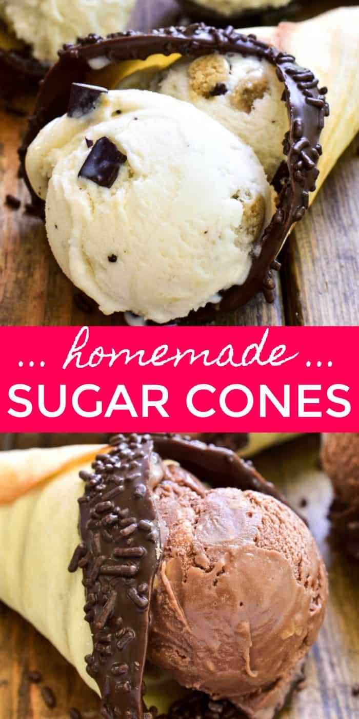 Prenez votre gâterie d'été préférée au sérieux avec des cornets de sucre faits maison ! Ces cônes sont faciles à faire, avec seulement une poignée d'ingrédients, et ils ont un goût incroyable. Le meilleur de tous, c'est qu'il n'y a pas besoin d'un appareil à gaufres. Ce qui signifie que tout le monde peut les faire ! Ces cornets de glace maison peuvent être préparés au four ou sur la cuisinière, et ils peuvent facilement être faits en différentes tailles et décorés pour différentes occasions. Ils sont le moyen parfait et FACILE de rendre vos friandises glacées préférées encore meilleures !'s no waffle cone maker required. Which means anyone can make them! These homemade ice cream cones can be made in the oven or on the stovetop, and they can easily be made in different sizes and decorated for different occasions. They're the perfect EASY way to make your favorite frozen treats even better!