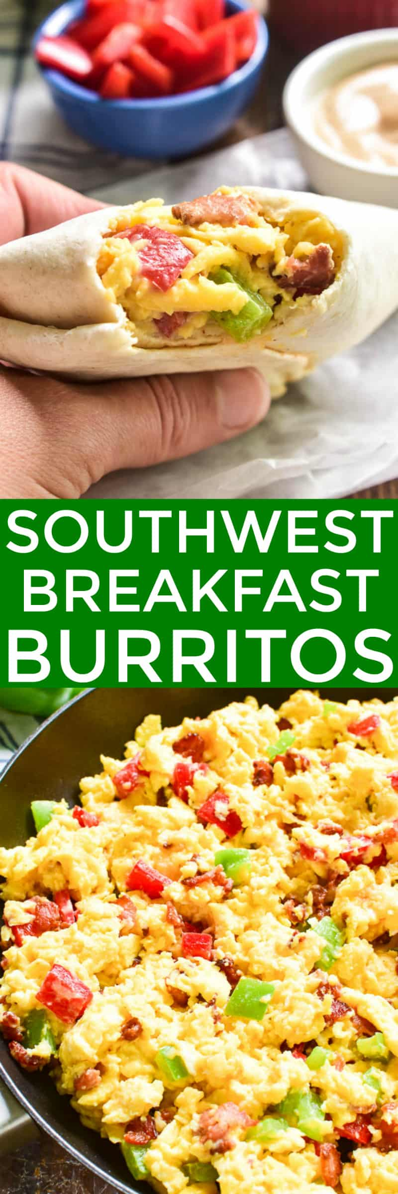 These Southwest Breakfast Burritos are packed with the BEST flavors! Loaded with scrambled eggs, bacon, peppers, cheese, and a creamy chipotle sauce, they're a deliciously satisfying way to start the day. These burritos are easy to make ahead and store in the fridge or freezer, then re-heat in the microwave for a quick and easy breakfast. They're perfect for adults and kids, alike....and guaranteed to take the stress out of busy mornings!