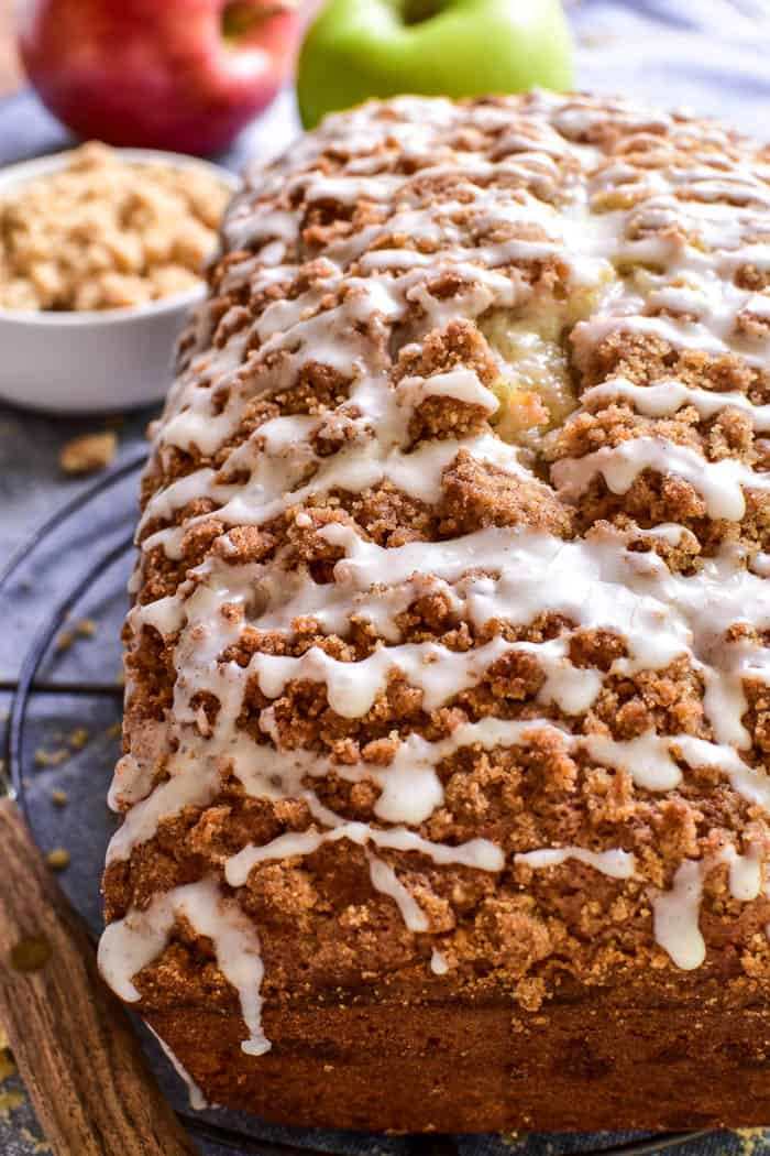 Apple Pie Bread with streusel and glaze