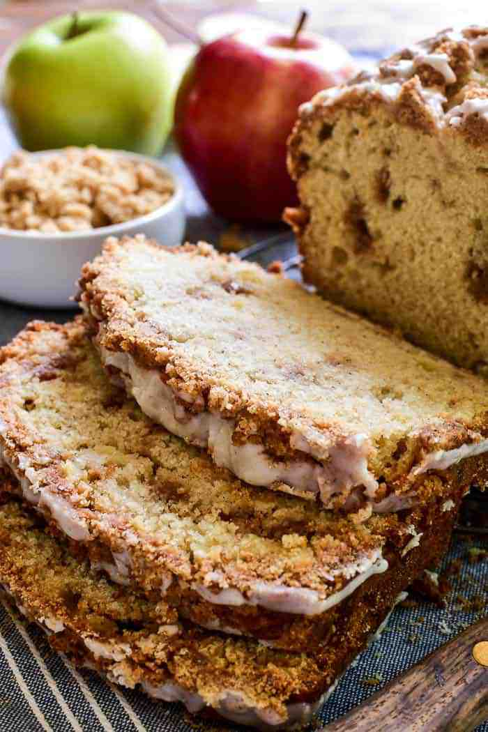 Sliced Apple Bread on cutting board