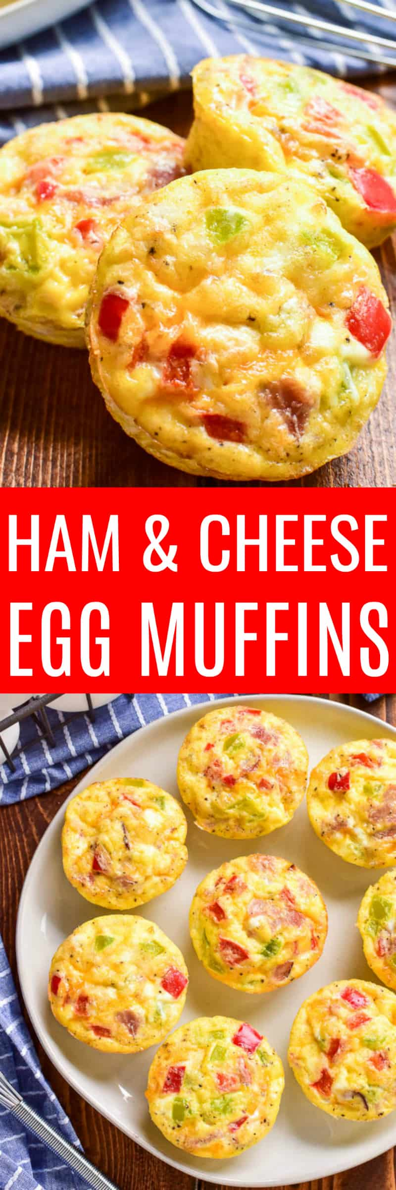 These Ham & Cheese Egg Muffins are perfect for busy mornings. Loaded with all the best breakfast ingredients, these muffins are an easy grab 'n go option that everyone loves!