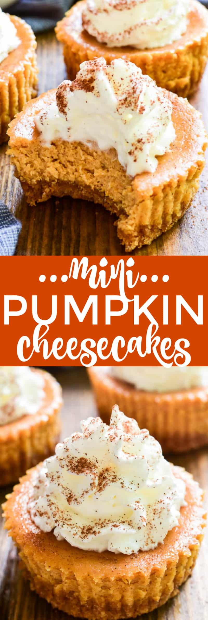Collage image of Mini Pumpkin Cheesecakes