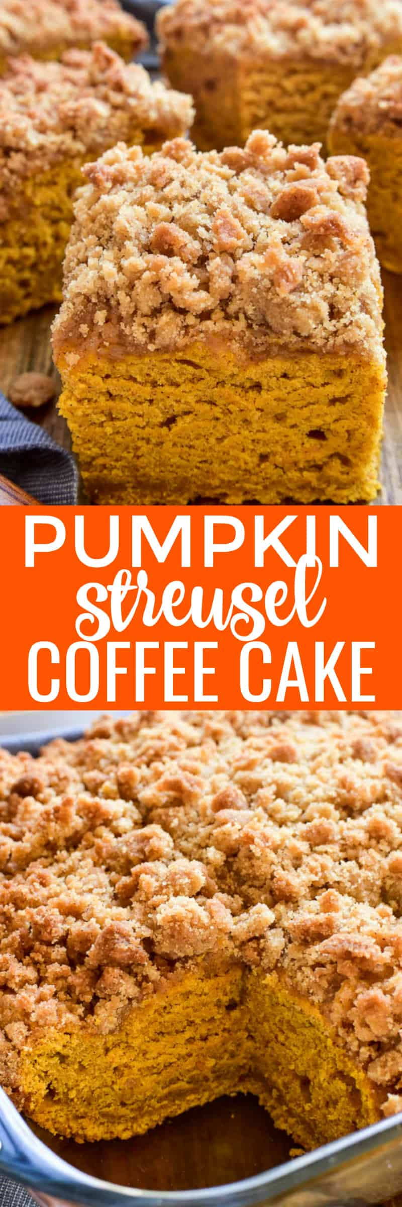 Pumpkin Coffee Cake with cinnamon streusel topping is the ultimate taste of fall! This coffee cake is packed with delicious pumpkin flavor and topped with a crunchy, buttery streusel topping. Perfect for holiday brunches or a special fall treat, if you love all things pumpkin, this Pumpkin Streusel Coffee Cake is sure to become a new favorite!
