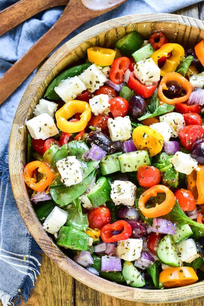 Greek Salad tossed in serving bowl