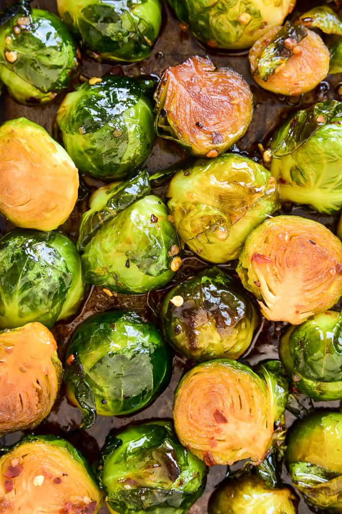 Overhead of Roasted Brussels Sprouts on pan