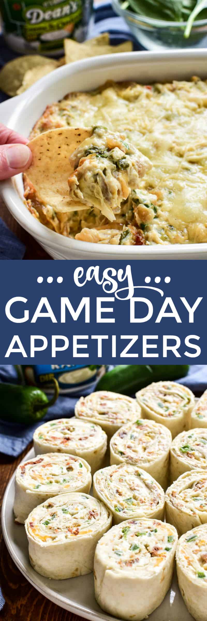 Collage image of game day appetizers: French Onion Spinach Artichoke Dip and Jalapeno Popper Pinwheels