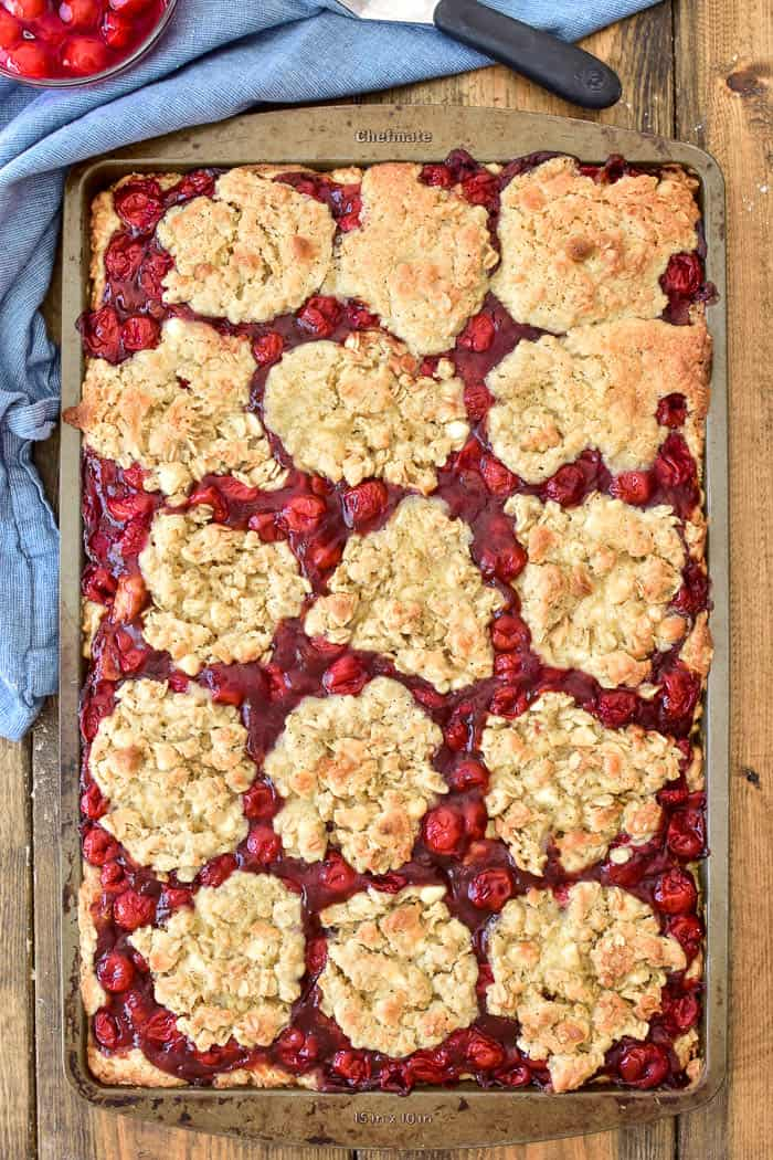 Overhead photo of Cherry Apple Butter Bars in pan