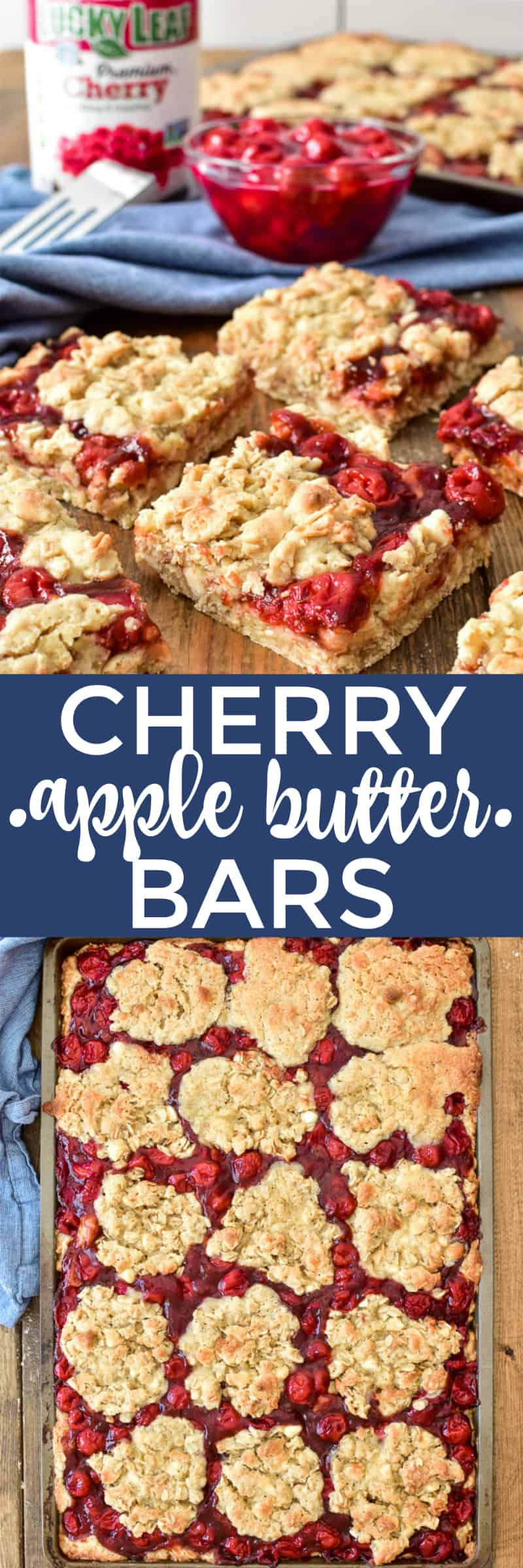 Collage image of Cherry Apple Butter Bars