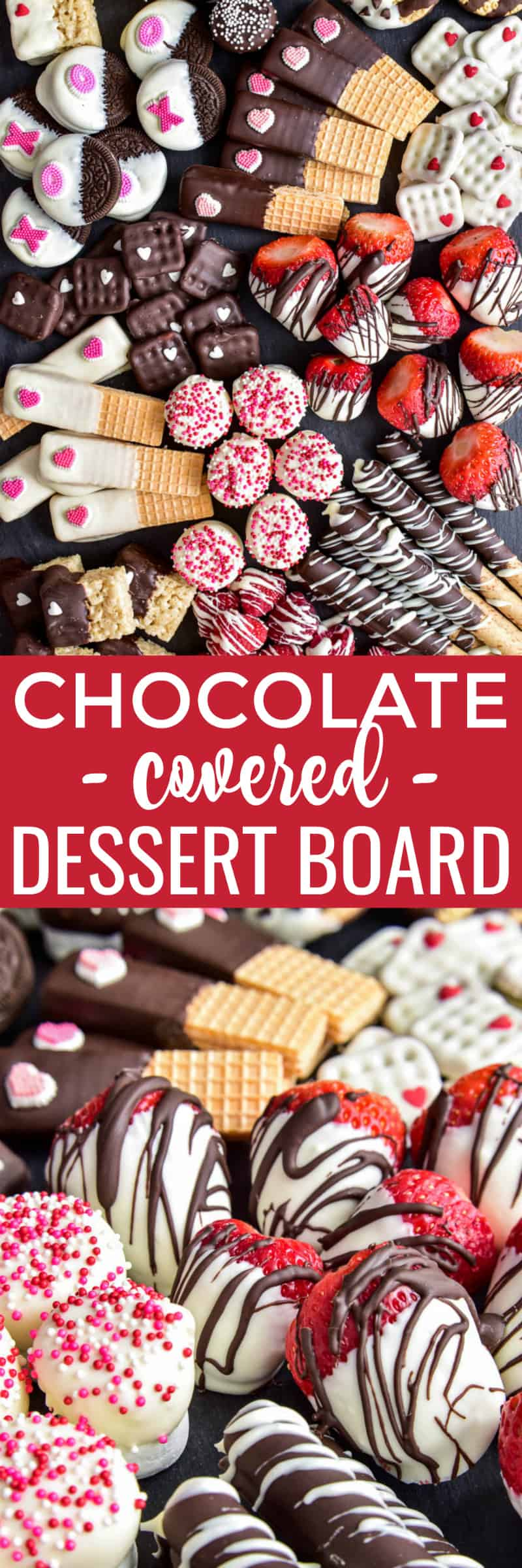 Collage image of Chocolate Covered Dessert Charcuterie Board