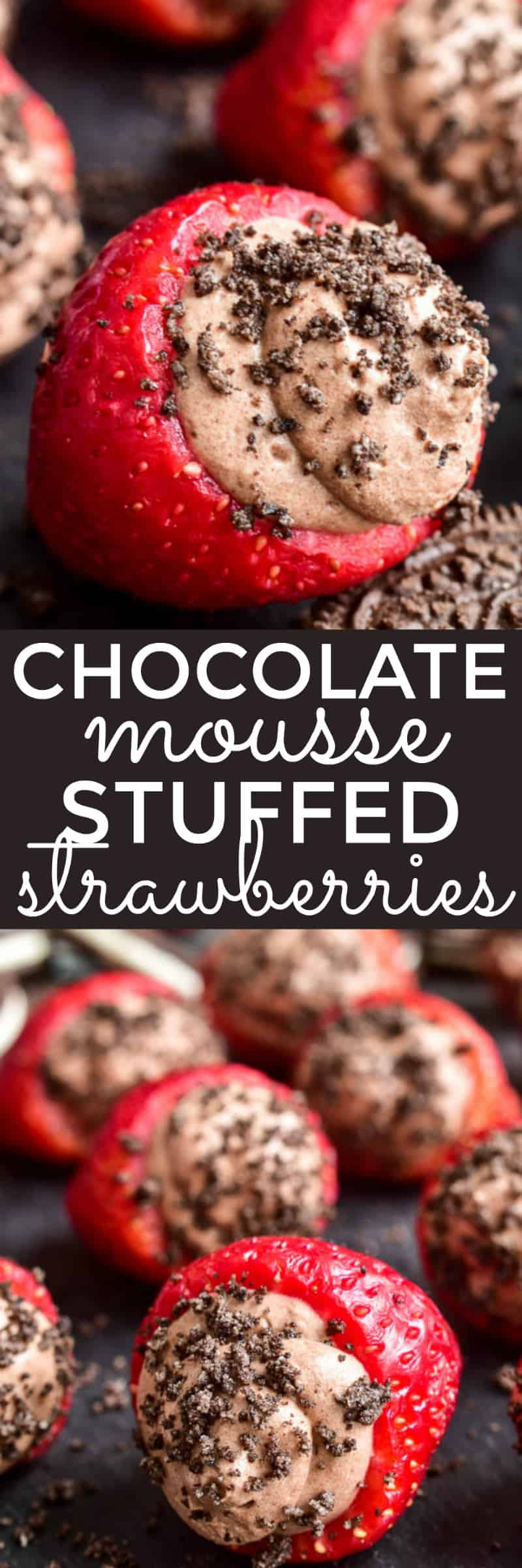 Collage image of Chocolate Mousse Stuffed Strawberries