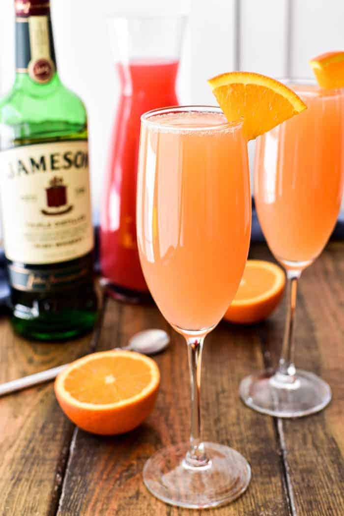 Irish Mimosas with bottle of Jameson Irish Whiskey