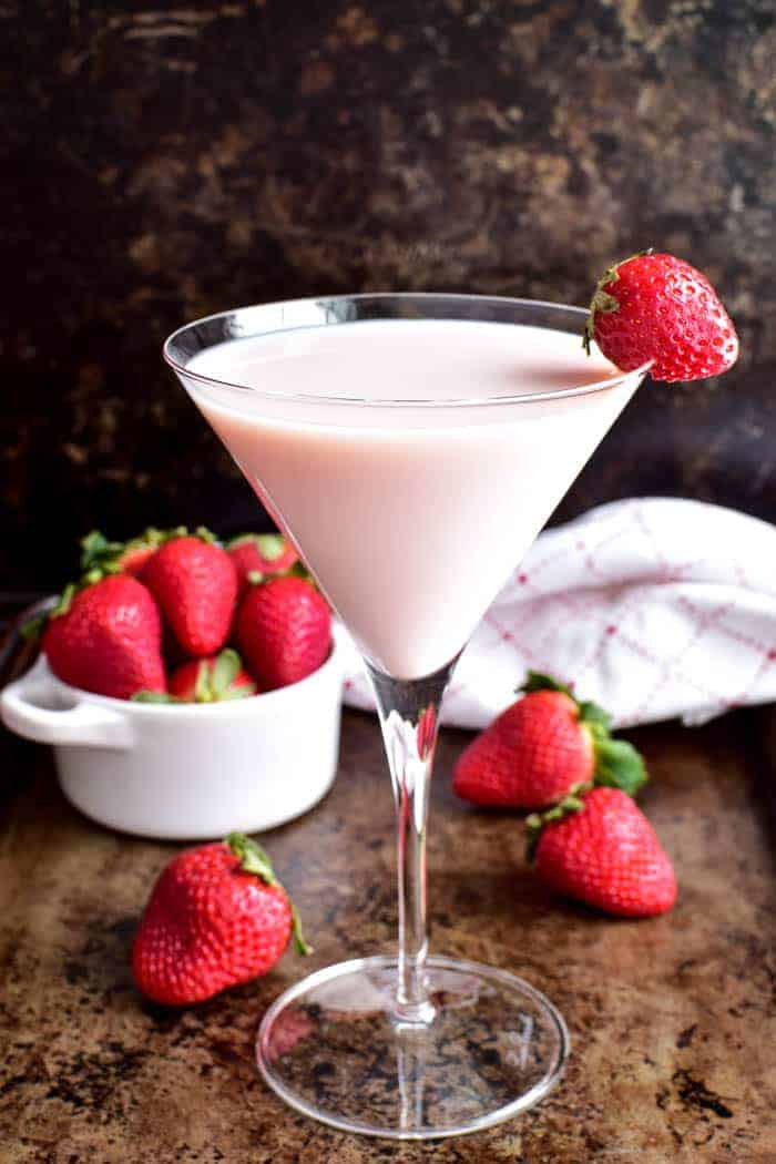 Strawberry Shortcake Martini with fresh strawberries