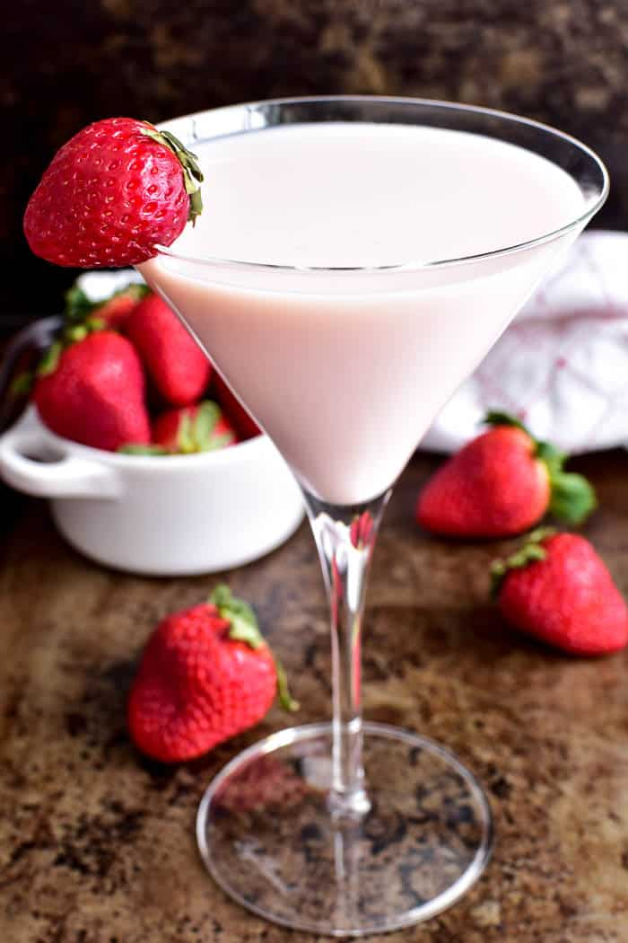 Close up of Strawberry Shortcake Martini in martini glass