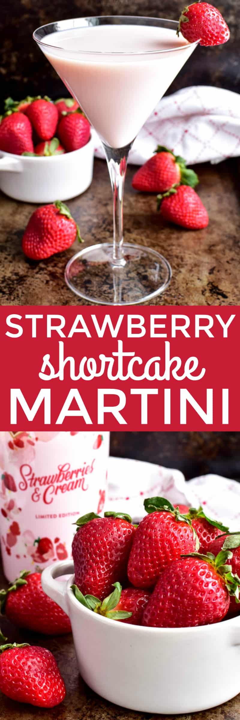 Collage image of Strawberry Shortcake Martini & fresh strawberries
