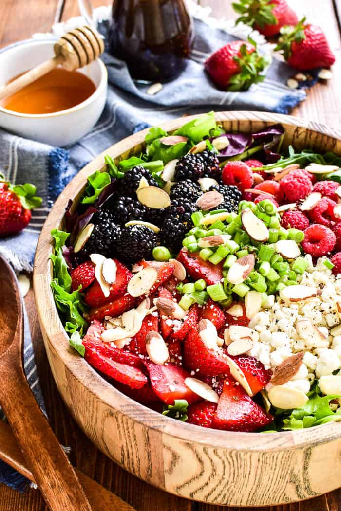 Close-up of Triple Berry Salad in serving bowl