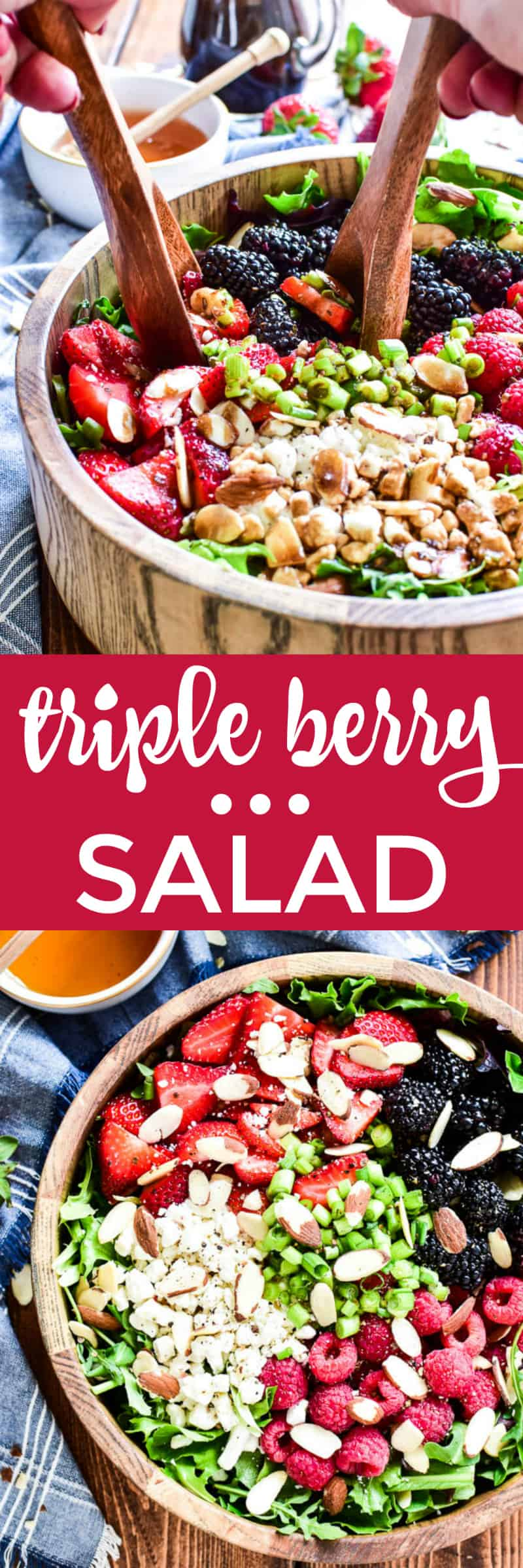 Collage image of Triple Berry Salad