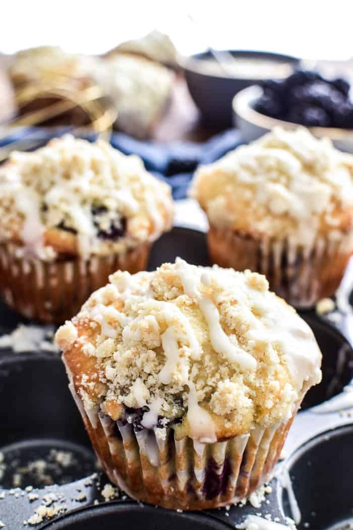 Close-up of Blackberry Streusel Muffin with glaze